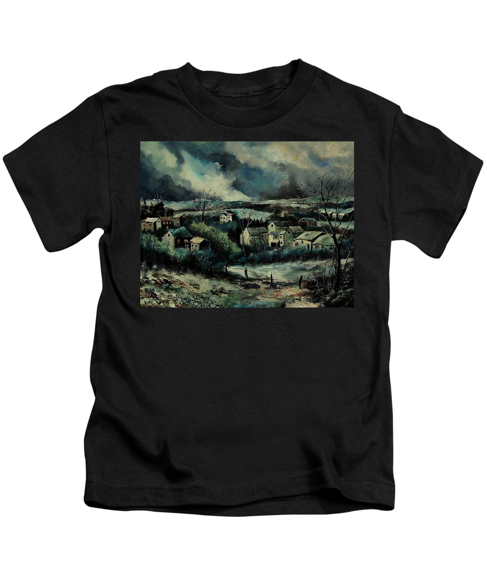 Village Kids T-Shirt featuring the painting Evening Is Falling by Pol Ledent