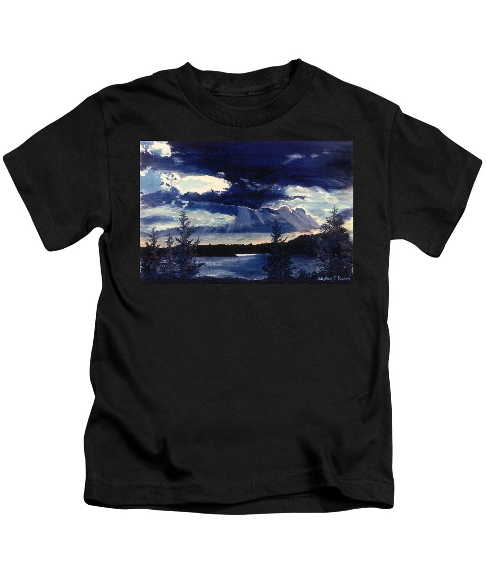 Landscape Kids T-Shirt featuring the painting Evening Lake by Steve Karol