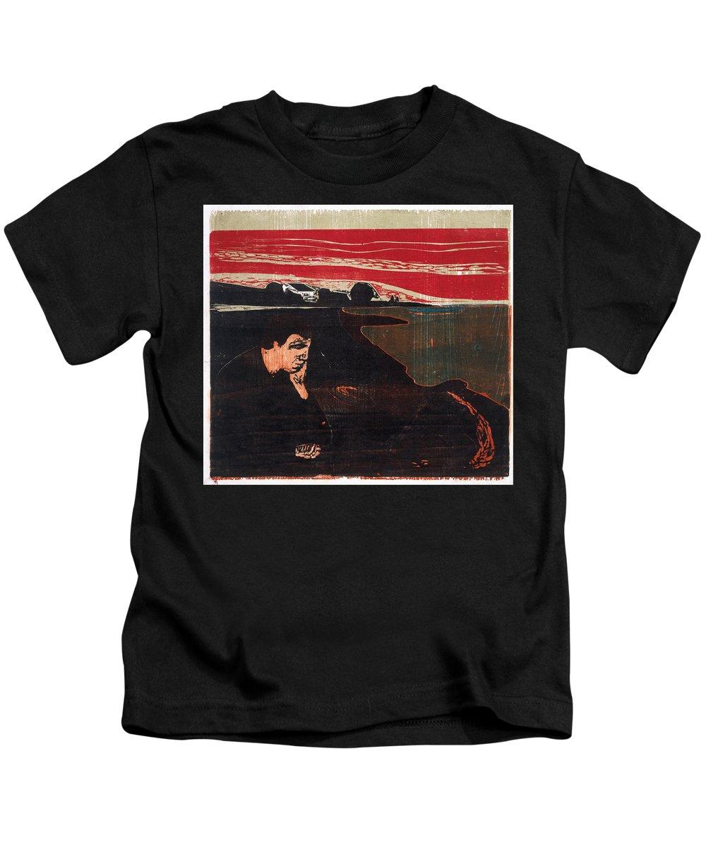 Edvard Munch Kids T-Shirt featuring the drawing Evening. Melancholy by Edvard Munch