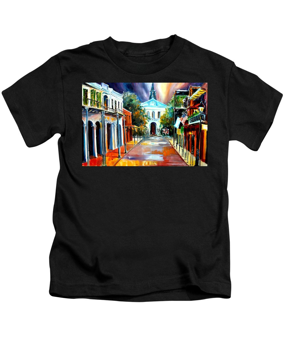 New Orleans Kids T-Shirt featuring the painting Evening On Orleans Street by Diane Millsap
