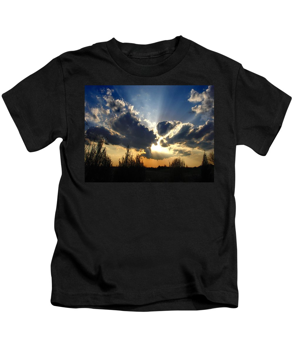 Landscape Kids T-Shirt featuring the photograph Evening Sky by Steve Karol