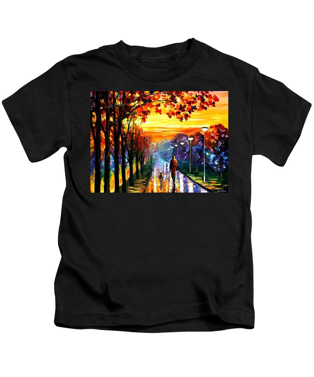 Afremov Kids T-Shirt featuring the painting Evening Stroll by Leonid Afremov