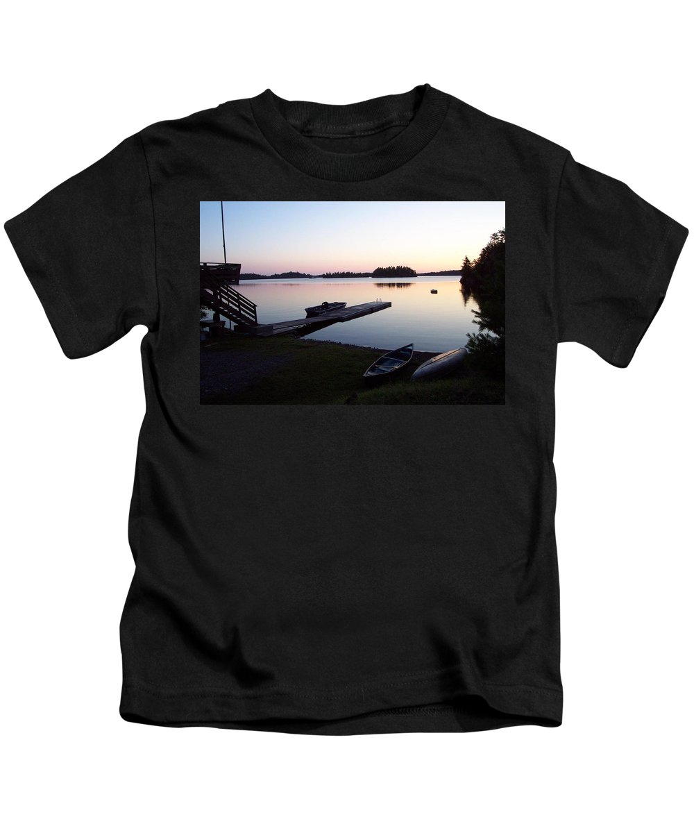 Nature Kids T-Shirt featuring the photograph Evening Water Bliss by Mary Mikawoz