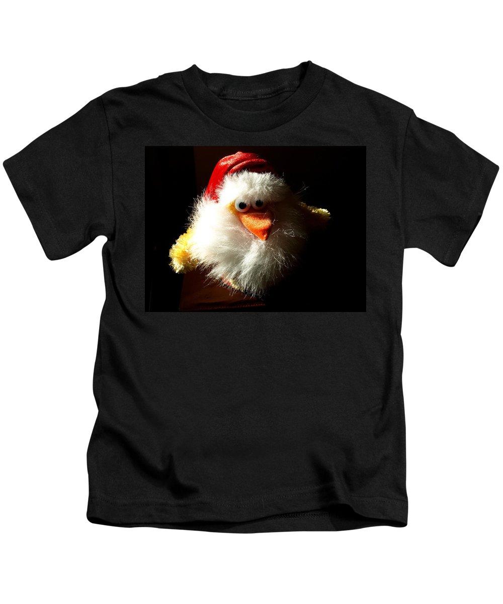 Evil; Good; Chicken; Bird; Stuffed; Animal; Fowl; Christmas; Beard; Hat; Bad; Sunshine; Barnyard; Du Kids T-Shirt featuring the photograph Evil Chicken by Allan Hughes