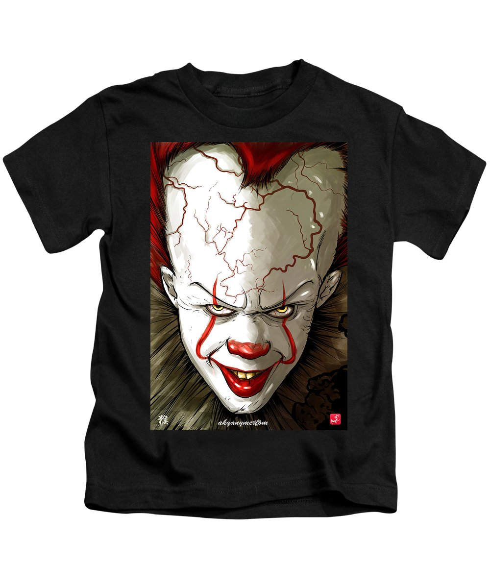 Clown Kids T-Shirt featuring the painting Evil Clown by Akyanyme