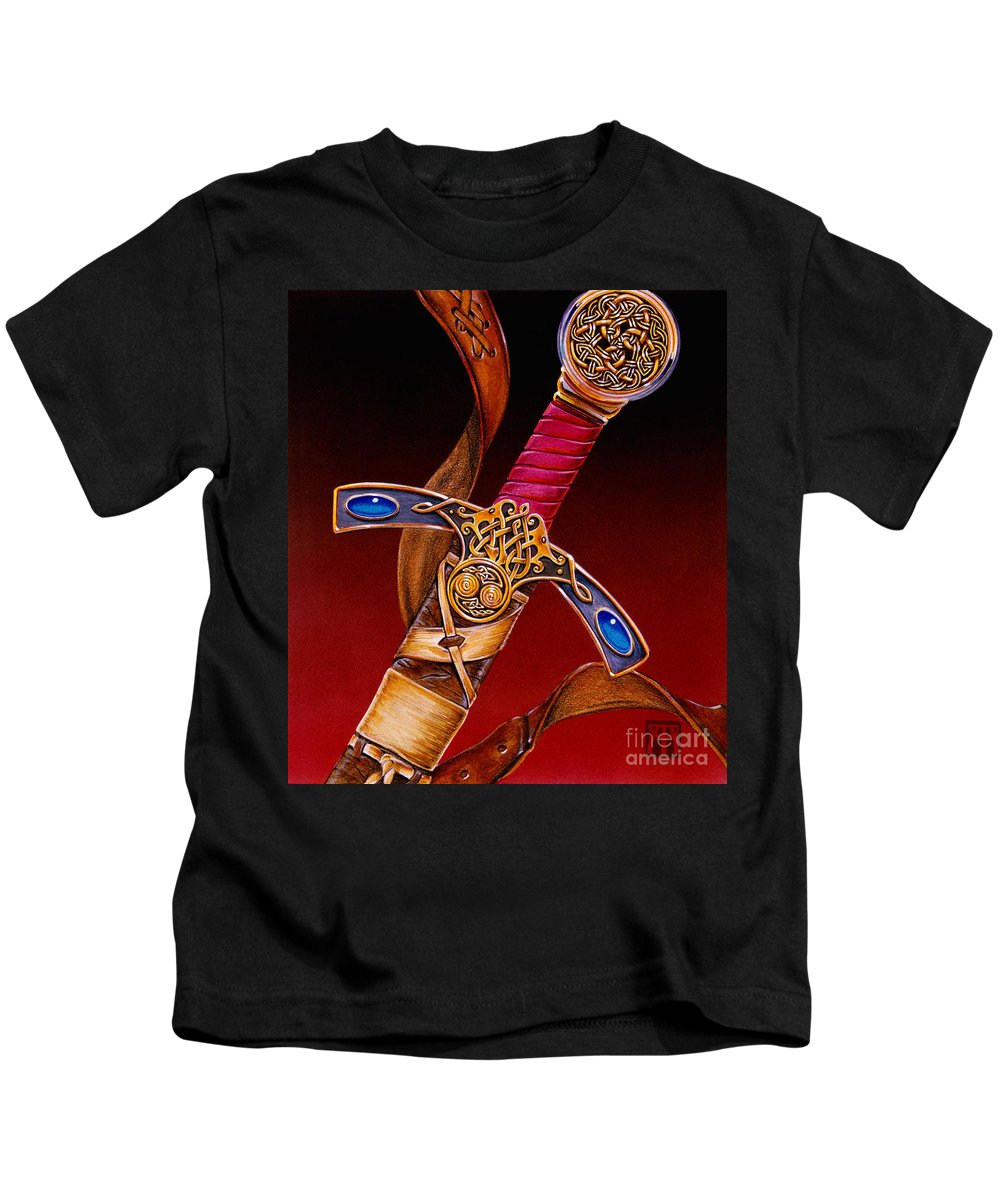 Swords Kids T-Shirt featuring the mixed media Excalibur by Melissa A Benson