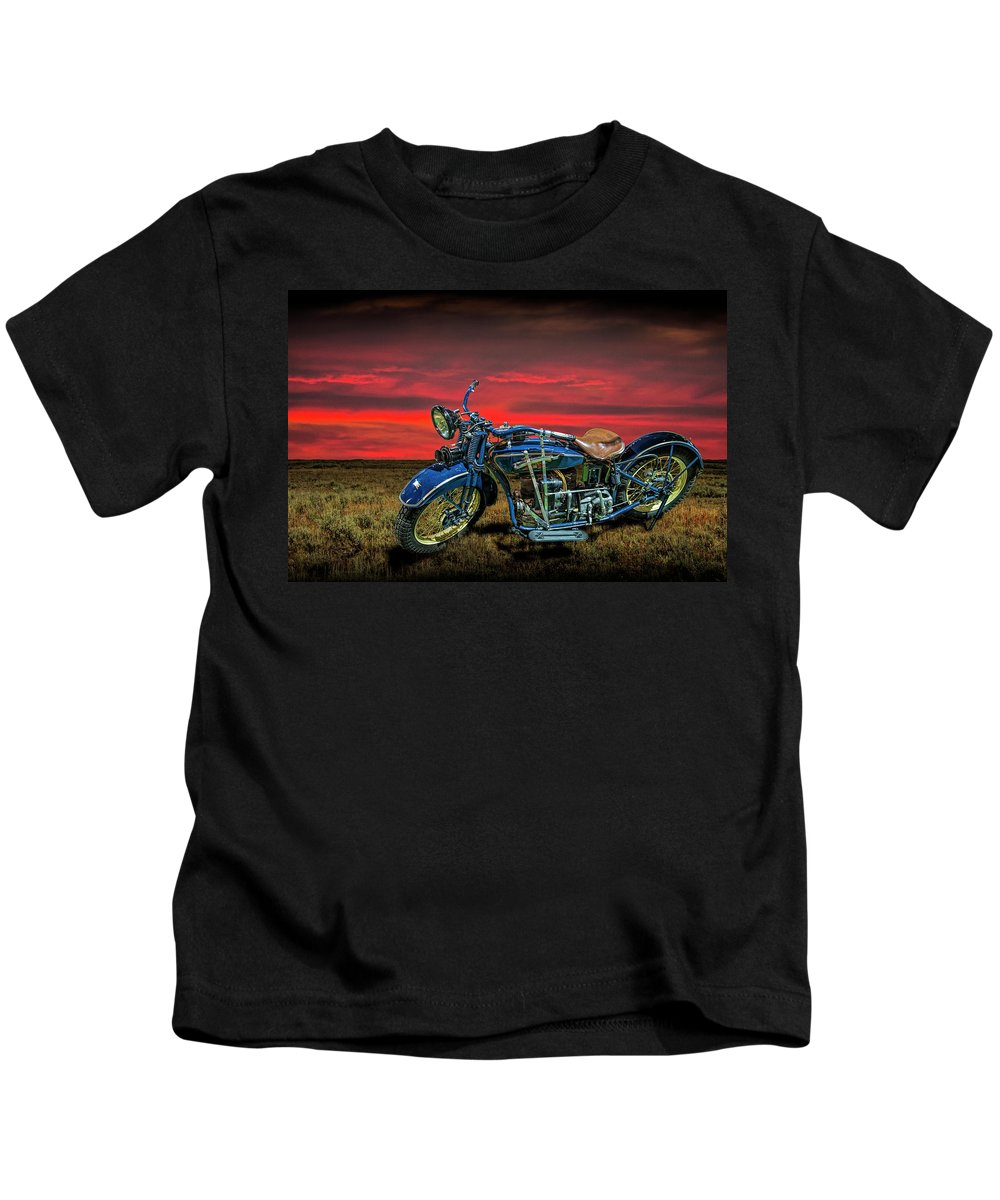 Motorcycle Kids T-Shirt featuring the photograph Excelsior Henderson Motorcycle by Randall Nyhof