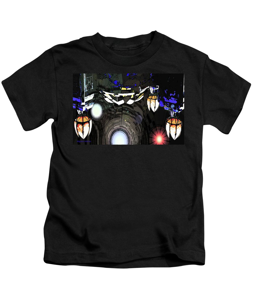 Abstract Kids T-Shirt featuring the digital art Exiting The Mother Ship by DigiArt Diaries by Vicky B Fuller