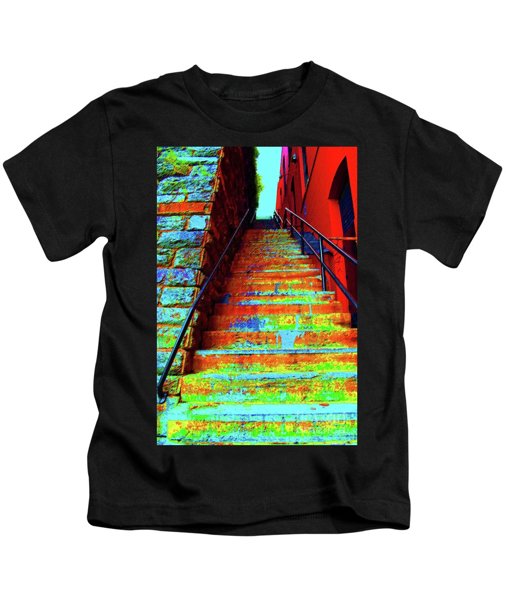 Exorcist Kids T-Shirt featuring the photograph Exorcist Steps by Jost Houk