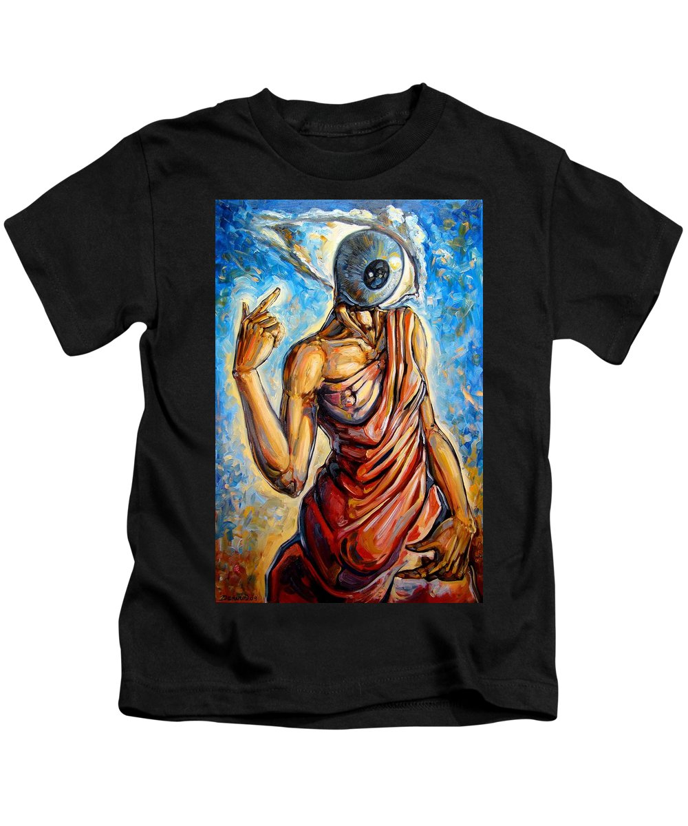 Surrealism Kids T-Shirt featuring the painting Eye Always Was - Symbolic Representation Of Universal Energy by Darwin Leon