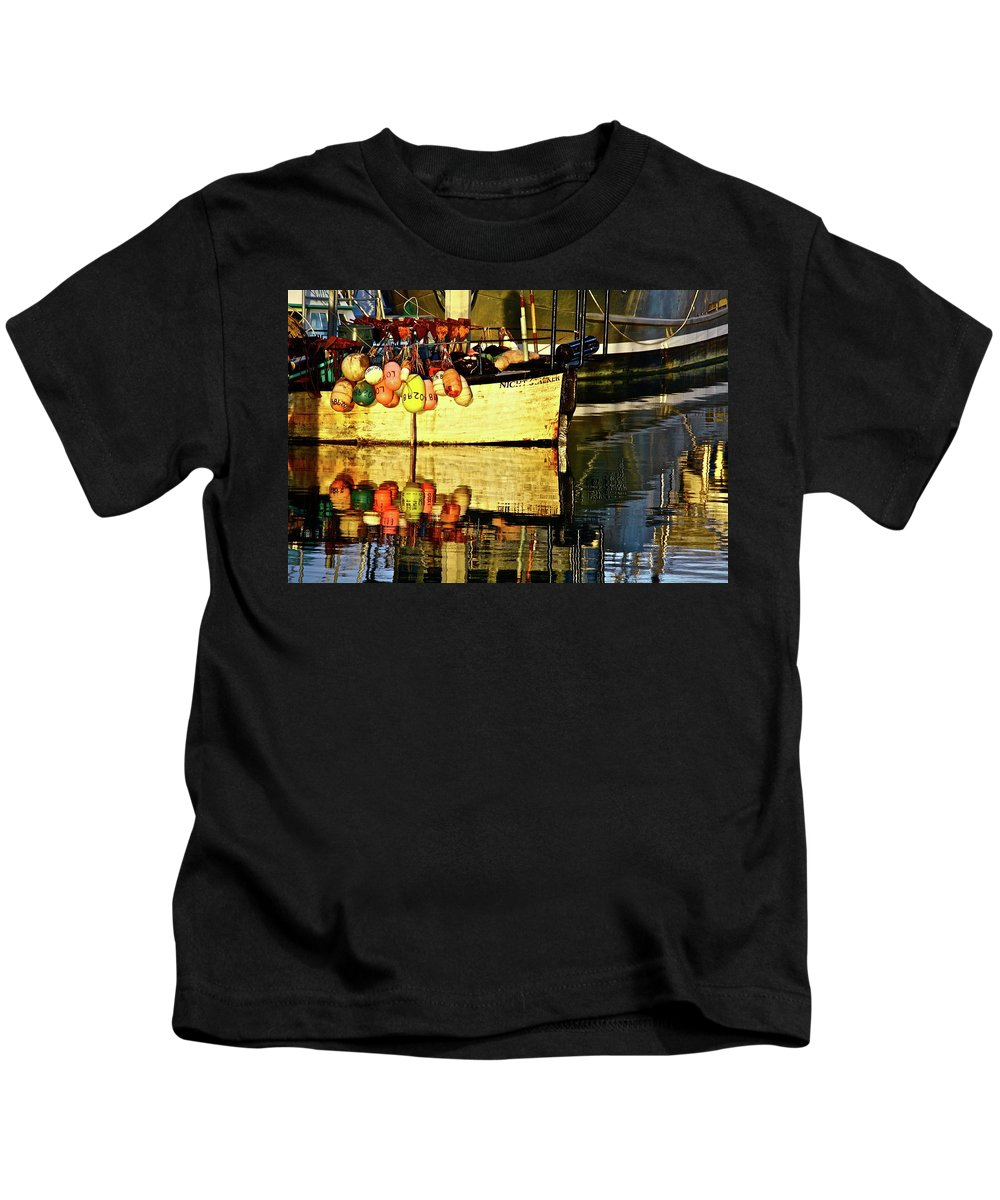 Boats Kids T-Shirt featuring the photograph Eye Catching Colors by Diana Hatcher