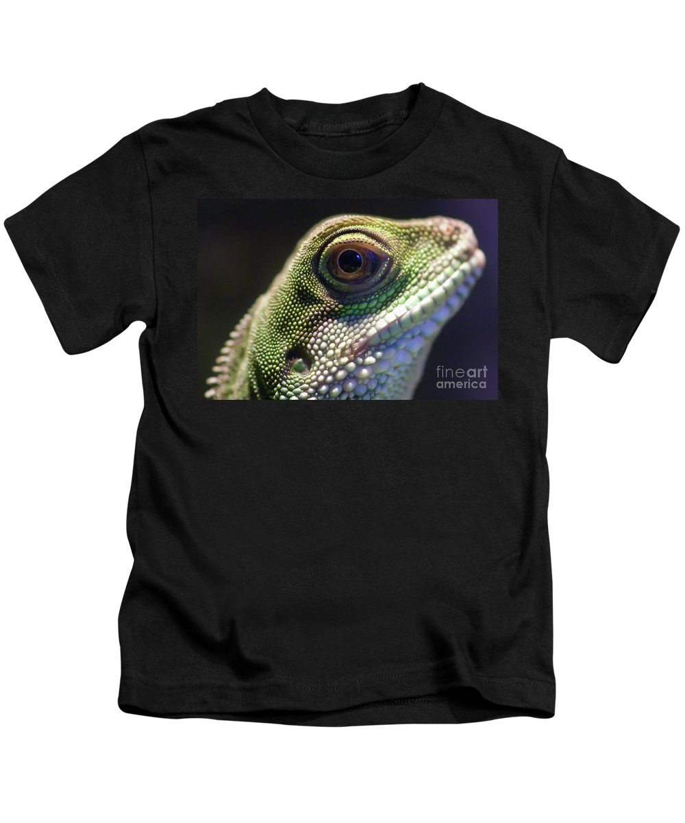 Animal Kids T-Shirt featuring the photograph Eye Of Lizard by Charles Dobbs