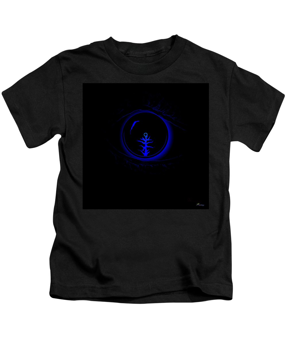 Eye Blue Abstract Different Black Orb Visual Kids T-Shirt featuring the digital art Eye Wonder by Andrea Lawrence