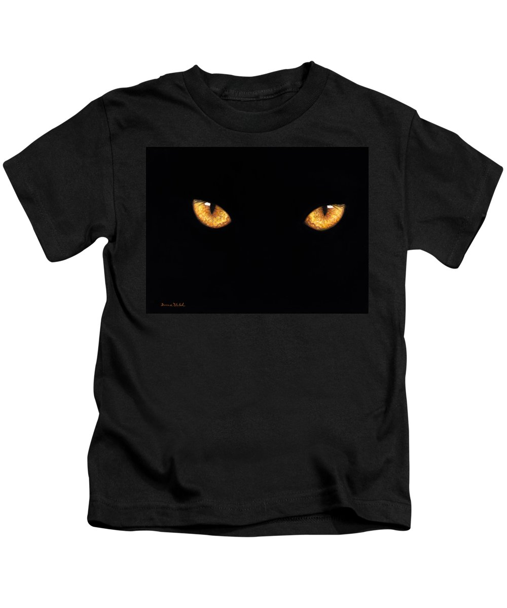 Panther Kids T-Shirt featuring the painting Eyes In The Night Oil.jpg by Donna Hillman Walsh