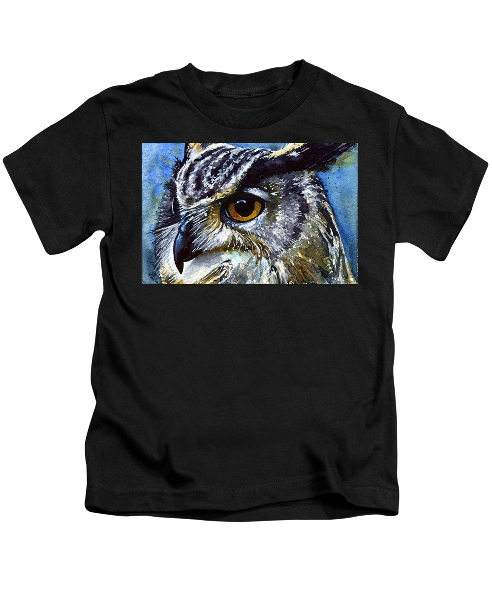 Owls Kids T-Shirt featuring the painting Eyes Of Owls No.25 by John D Benson