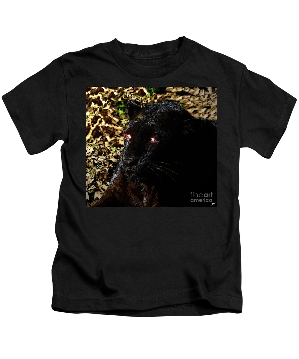 Art Kids T-Shirt featuring the painting Eyes Of The Panther by David Lee Thompson