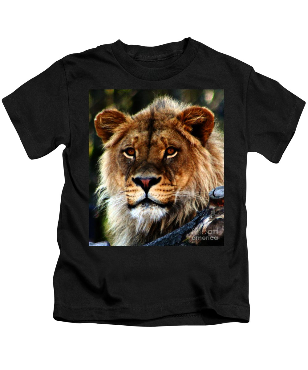 Lion Kids T-Shirt featuring the photograph Eyes Of The Young King by Nick Gustafson