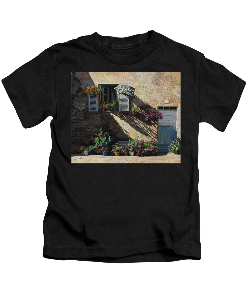 Streetscene Kids T-Shirt featuring the painting Facciata In Ombra by Guido Borelli