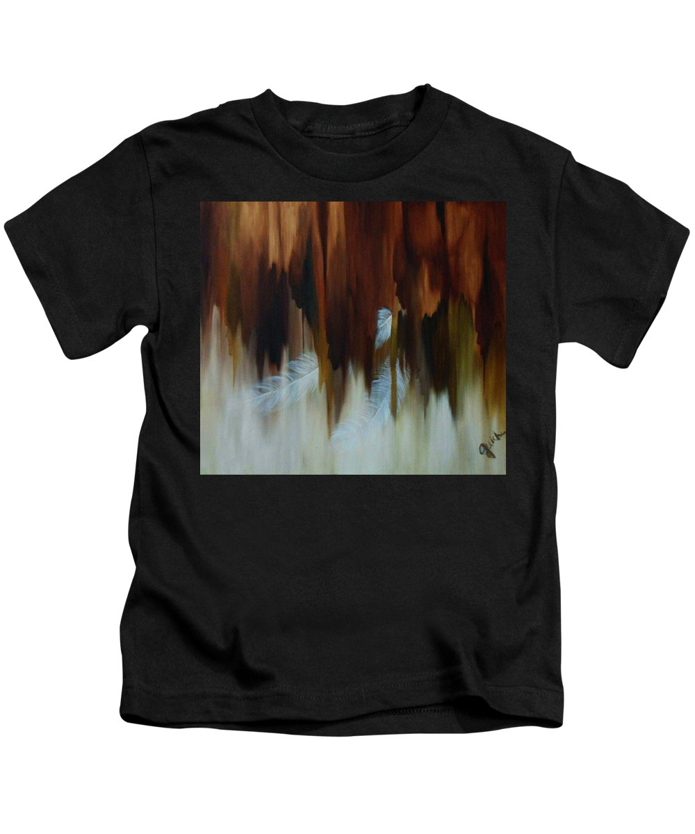 Oil Kids T-Shirt featuring the painting Faces by Peggy Guichu