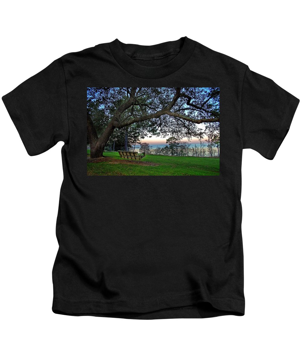 Fairhope Kids T-Shirt featuring the painting Fairhope Swing On The Bay by Michael Thomas