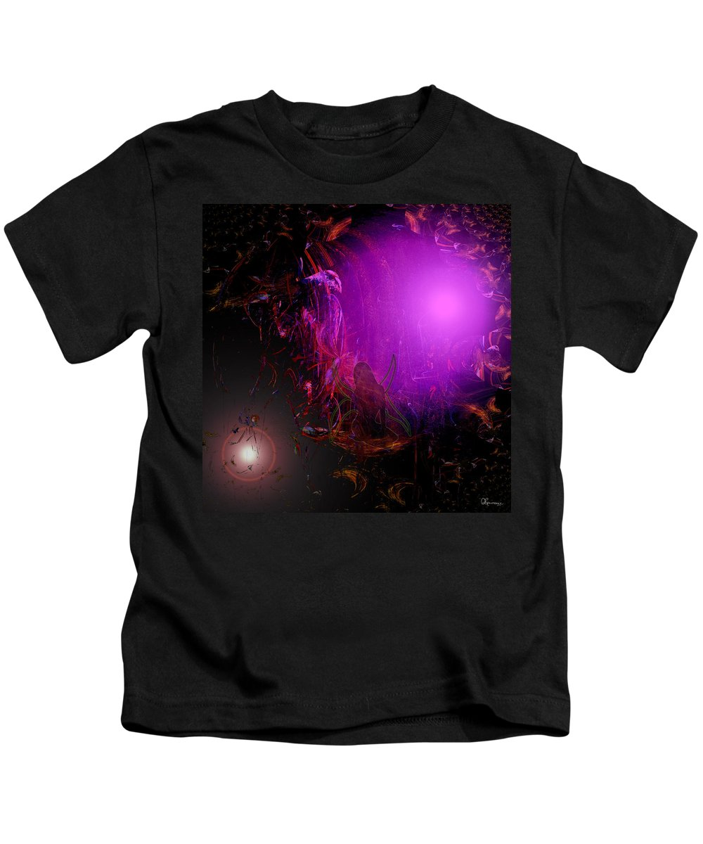 Abstract Fairy Another World Digital Drawing Light Color Imagination Secret Places Hidden Image Kids T-Shirt featuring the digital art Fairies Beckon by Andrea Lawrence