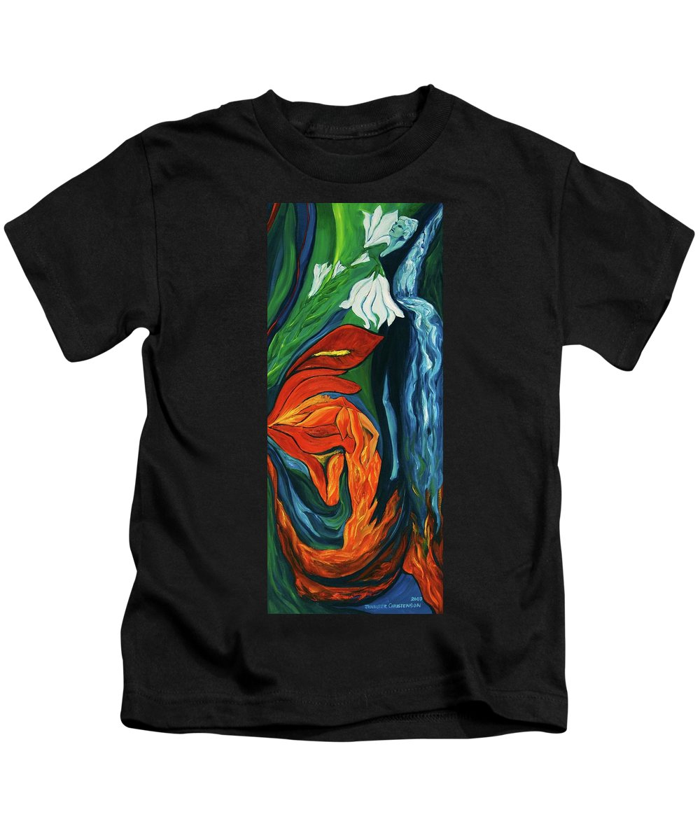Fairies Kids T-Shirt featuring the painting Fairies Of Fire And Ice by Jennifer Christenson