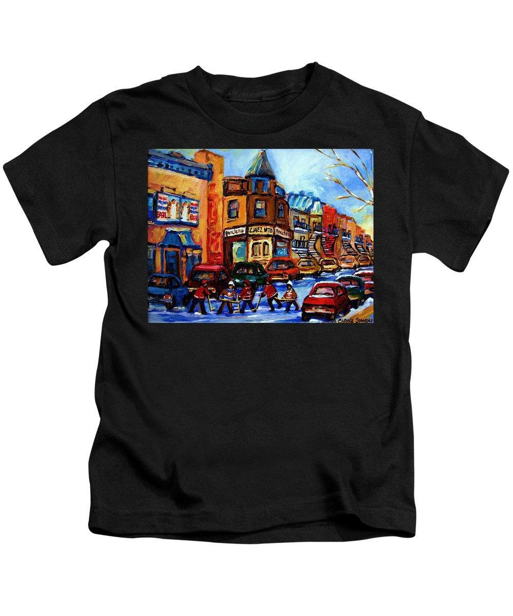 Hockey Kids T-Shirt featuring the painting Fairmount Bagel With Hockey Game by Carole Spandau