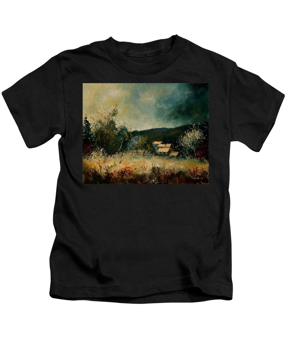 Village Kids T-Shirt featuring the painting Fall 4590 by Pol Ledent