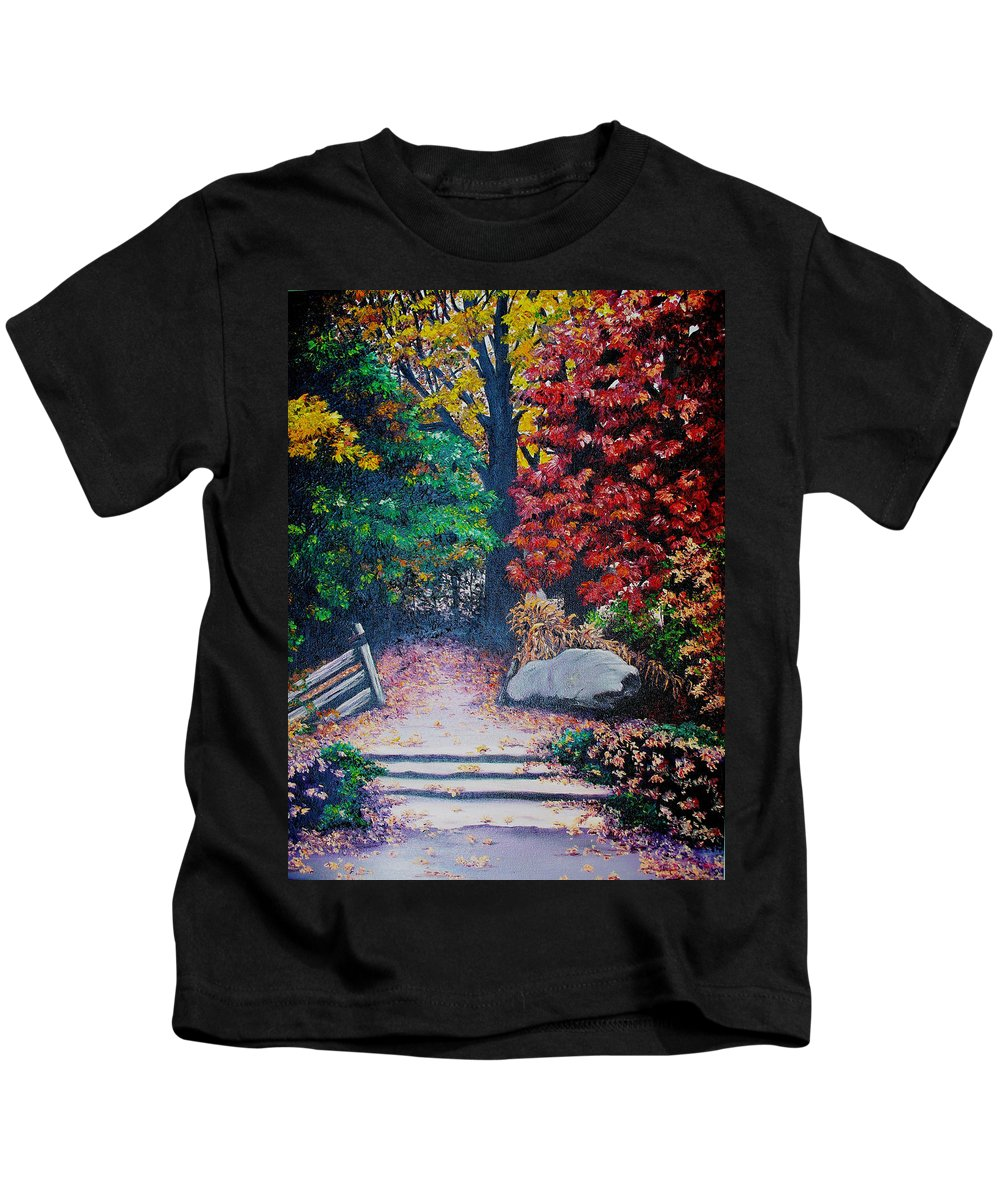 A N Original Painting Of An Autumn Scene In The Gateneau In Quebec Kids T-Shirt featuring the painting Fall In Quebec Canada by Karin Dawn Kelshall- Best