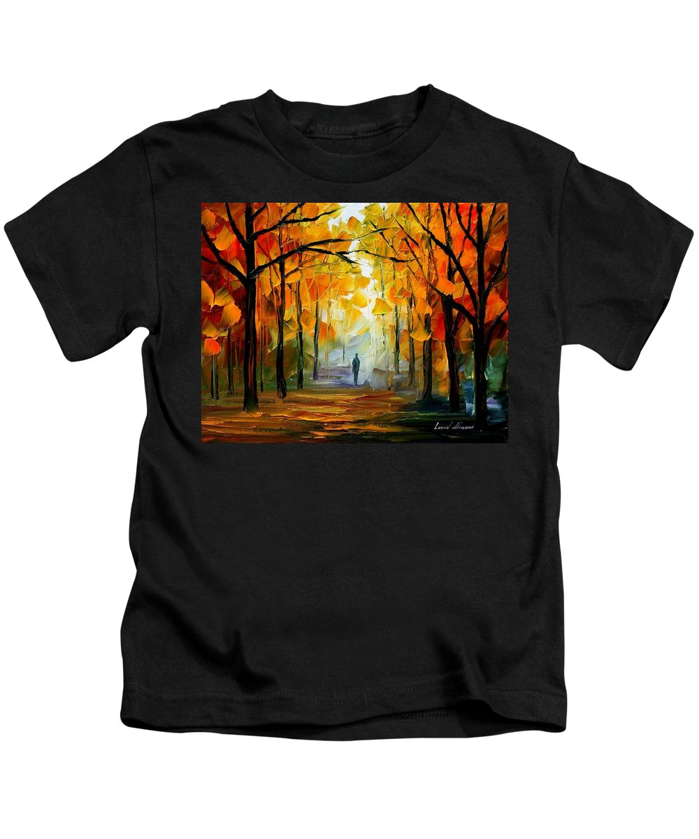 Landscape Kids T-Shirt featuring the painting Fall by Leonid Afremov
