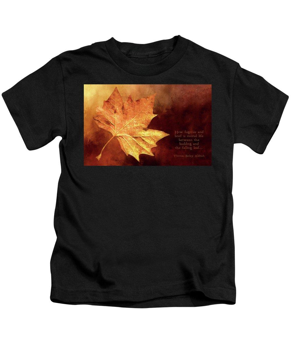 Leaf Kids T-Shirt featuring the digital art Fallen Leaf by Casey Heisler