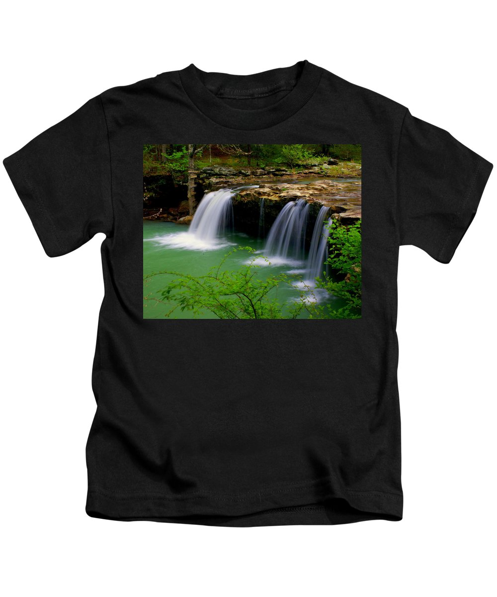 Waterfalls Kids T-Shirt featuring the photograph Falling Water Falls by Marty Koch