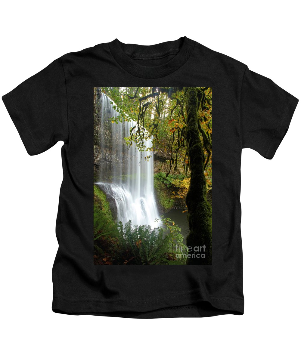Silver Falls State Park Kids T-Shirt featuring the photograph Falls Though The Trees by Adam Jewell