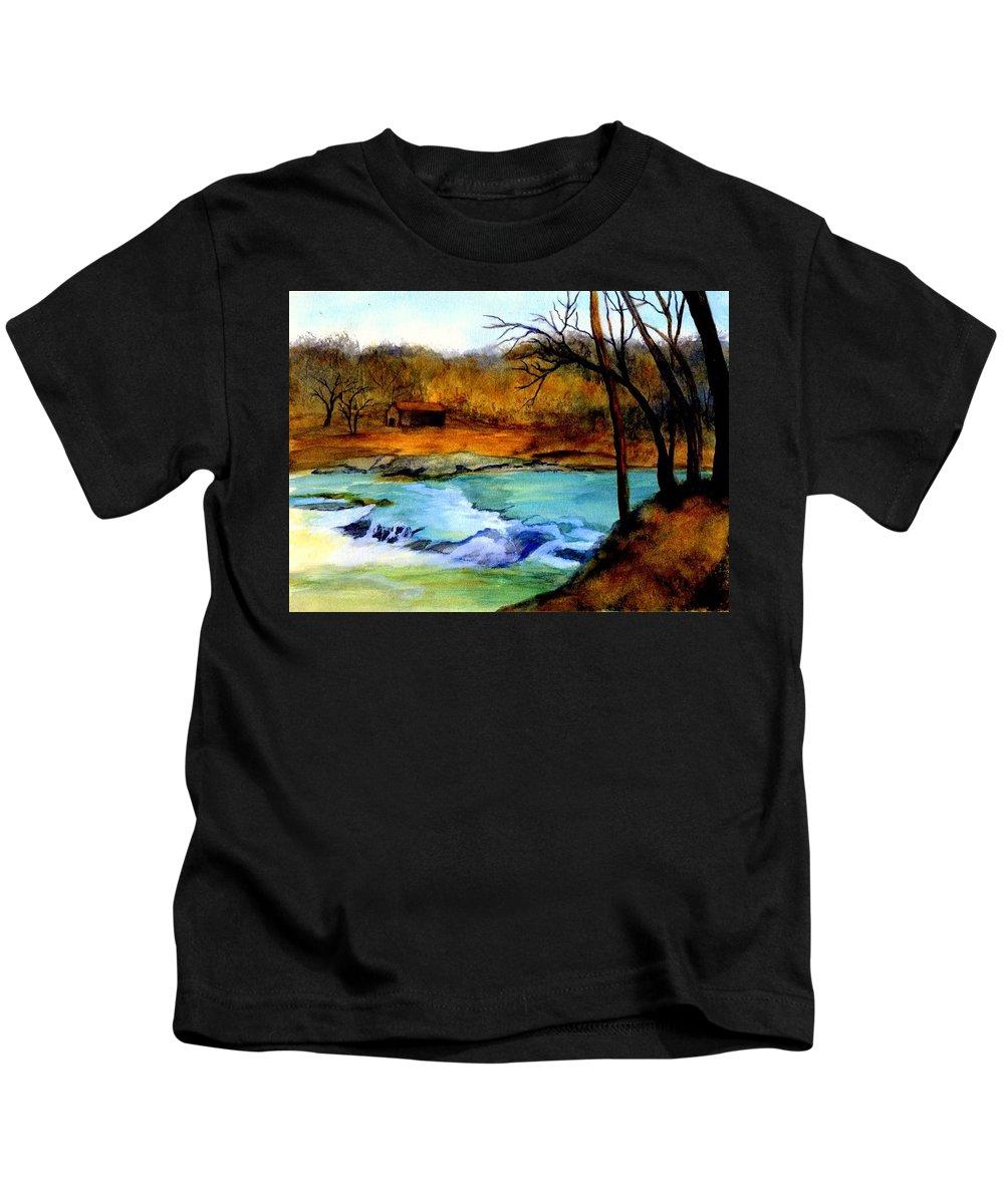 Waterfall Kids T-Shirt featuring the painting Fallsburg Ky Falls by Gail Kirtz