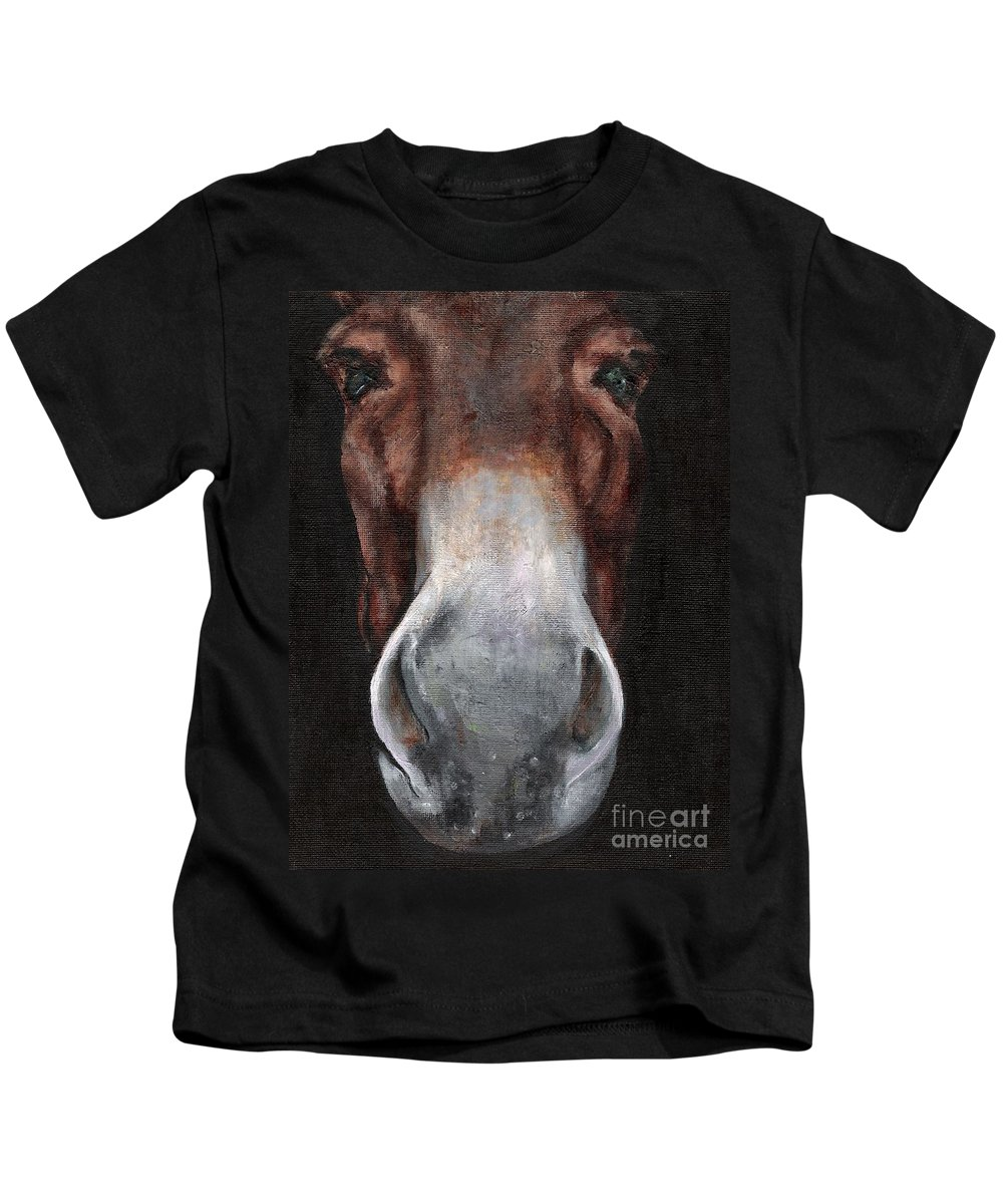 Mule Kids T-Shirt featuring the painting Fannie by Frances Marino