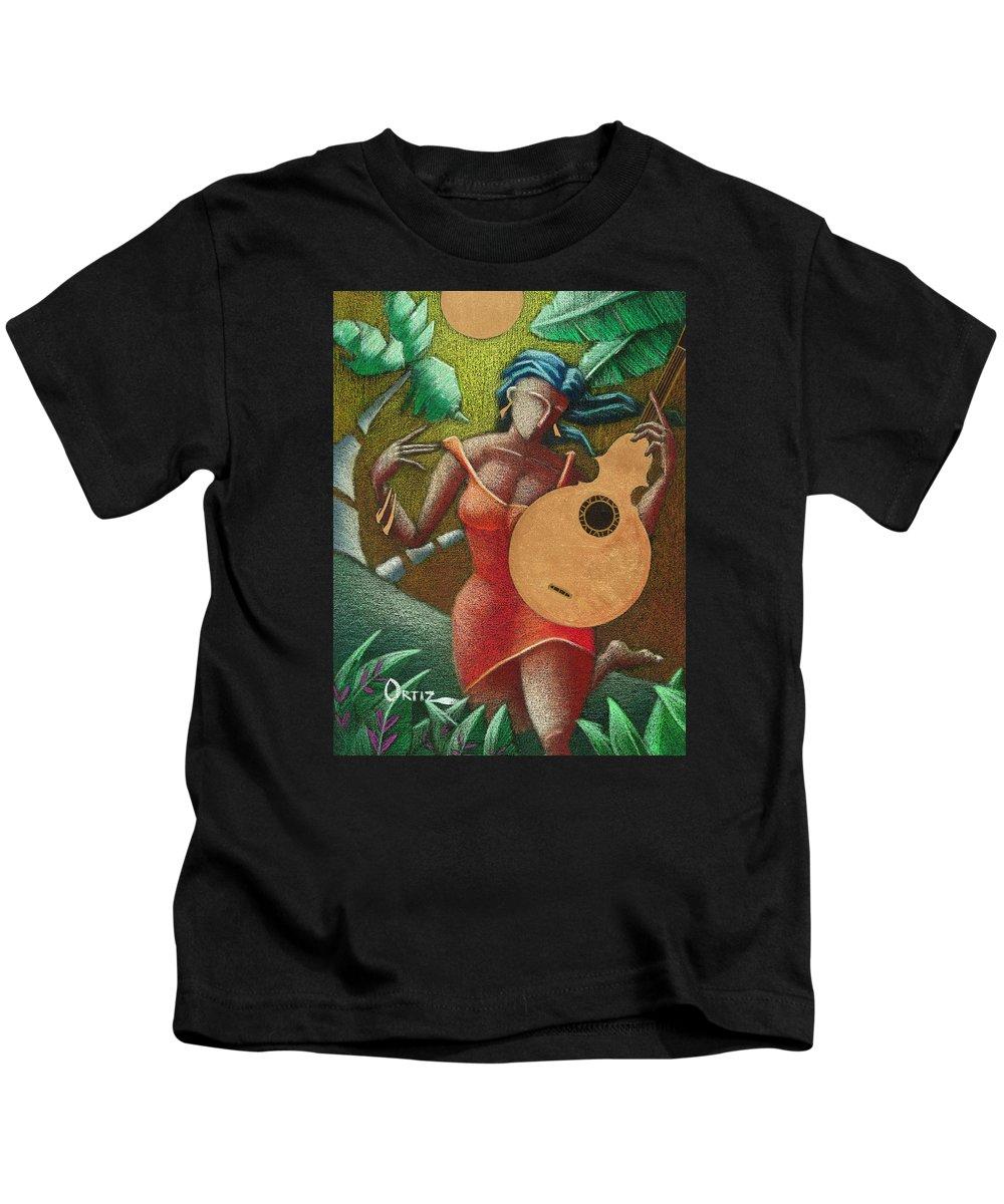 Puerto Rico Kids T-Shirt featuring the painting Fantasia Boricua by Oscar Ortiz