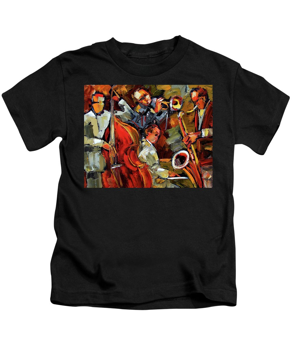 Jazz Kids T-Shirt featuring the painting Fantastic Four by Debra Hurd