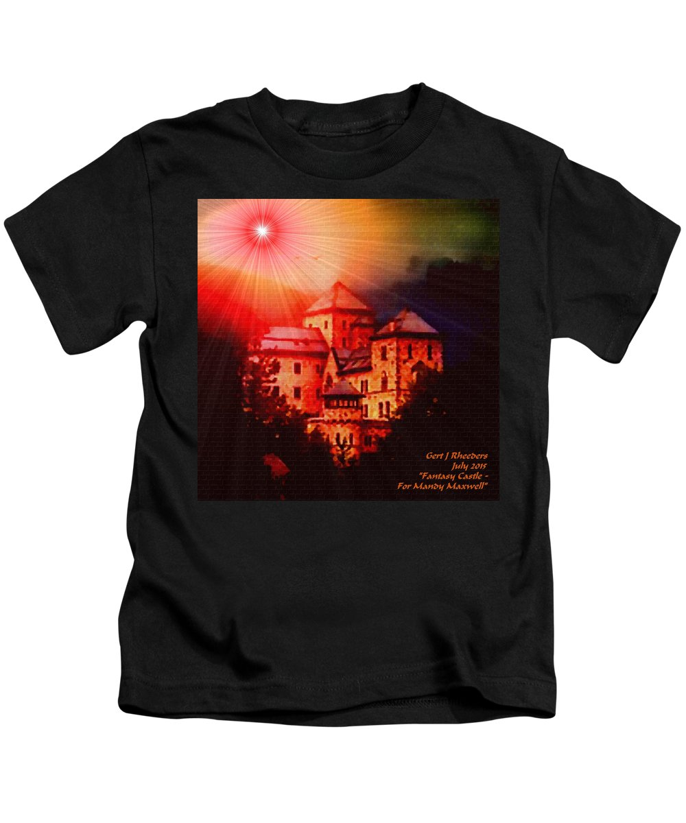 Announcement Kids T-Shirt featuring the painting Fantasy Castle For Mandy Maxwell H A by Gert J Rheeders