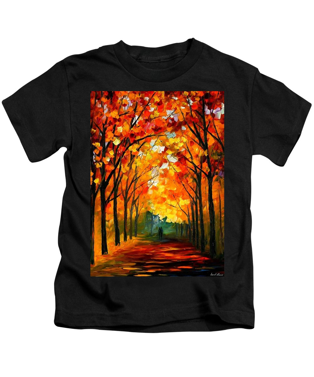 Afremov Kids T-Shirt featuring the painting Farewell To Autumn by Leonid Afremov