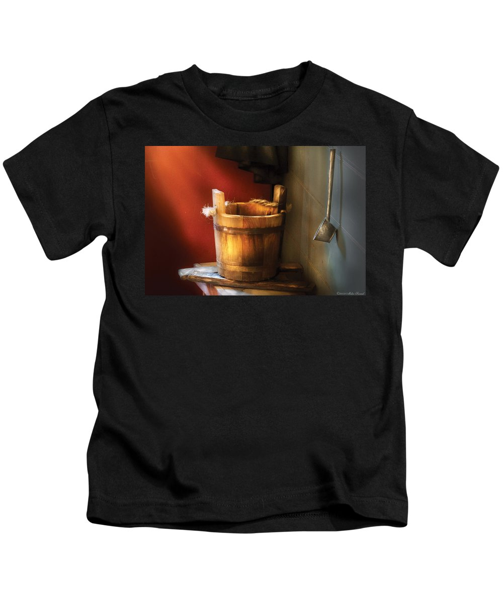 Savad Kids T-Shirt featuring the photograph Farm - Pail - Water Pail And Ladel by Mike Savad