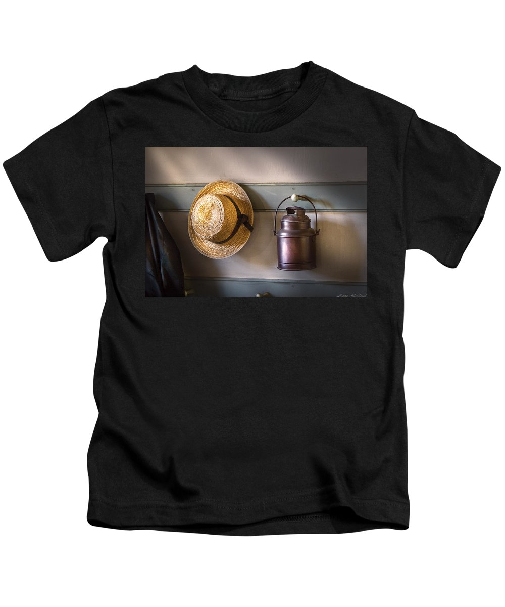 Savad Kids T-Shirt featuring the photograph Farm - Tool - The Coat Rack by Mike Savad