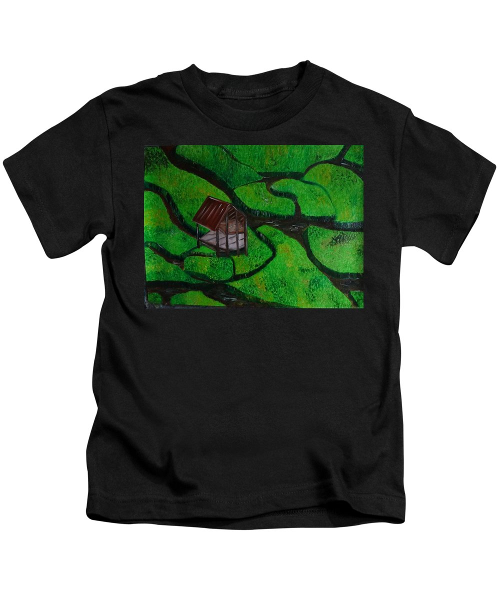 Farm House Oil Painting On Paper Kids T-Shirt featuring the painting Farm House by Murali S