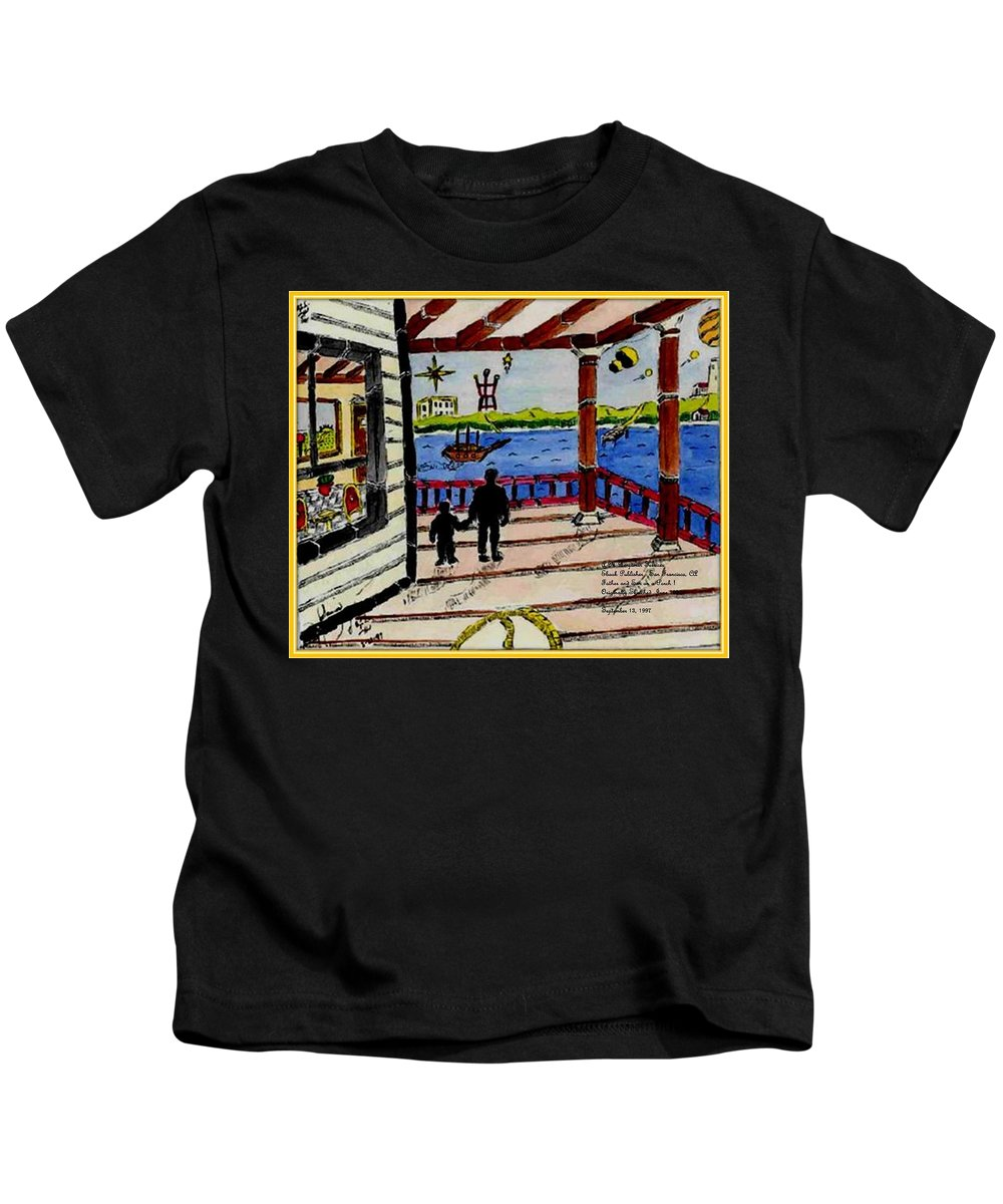 Boy Kids T-Shirt featuring the painting Father and son on the Porch by Anthony Benjamin