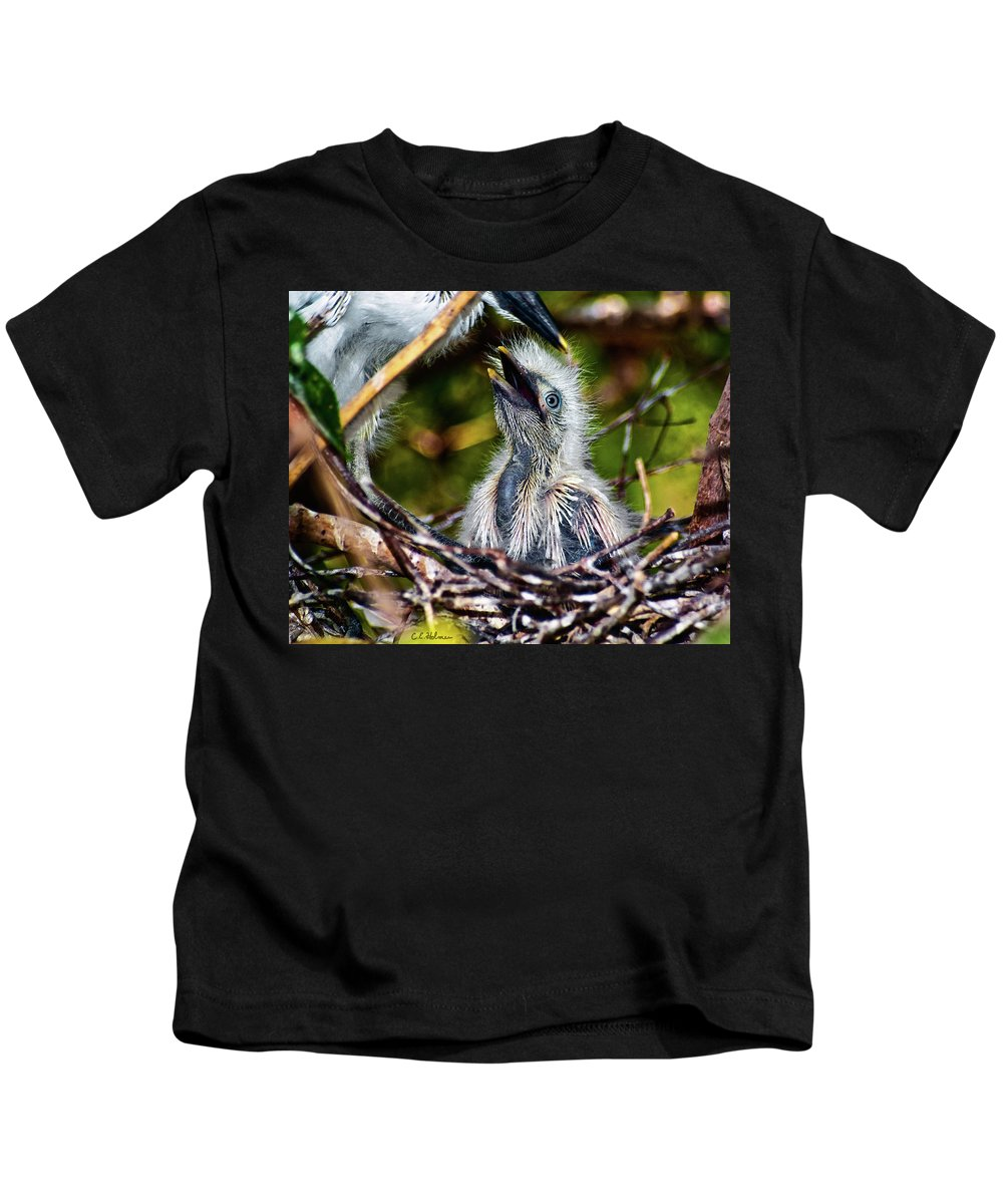 Egret Kids T-Shirt featuring the photograph Feed Me by Christopher Holmes