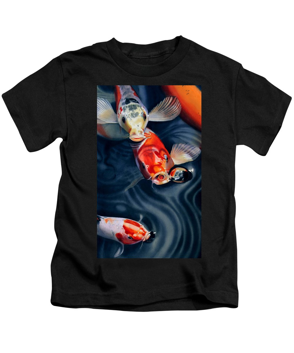 Koi Kids T-Shirt featuring the painting Feeding Frenzy by Denny Bond