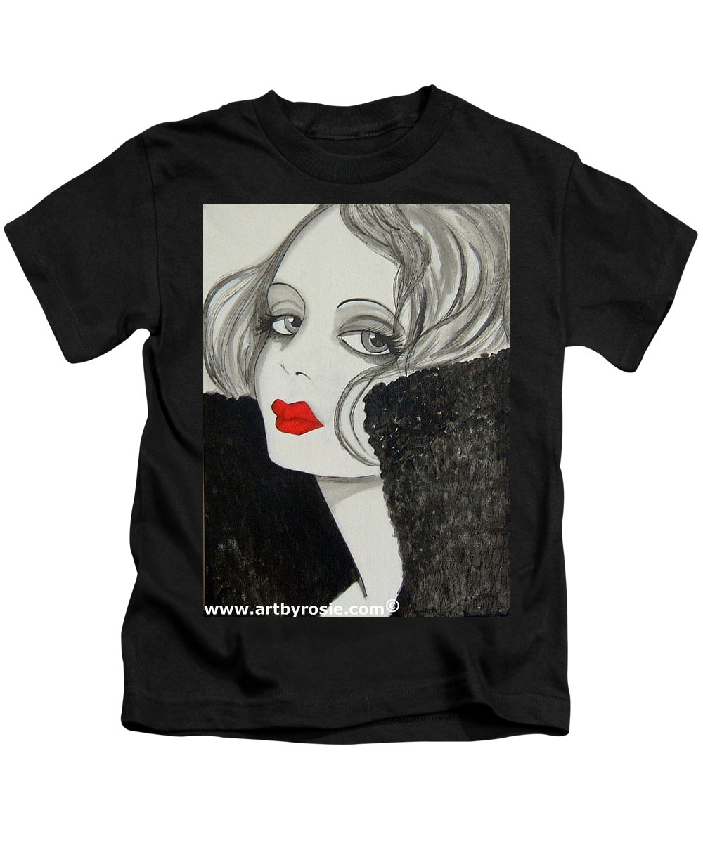 Cinema Kids T-Shirt featuring the painting Femme Fatale by Rosie Harper