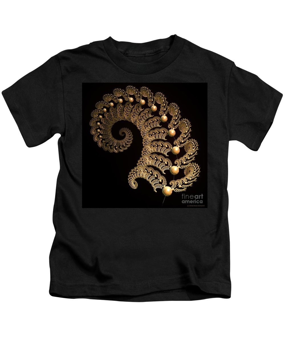 Incendia Kids T-Shirt featuring the digital art Fern-Spiral-Fern by Deborah Benoit