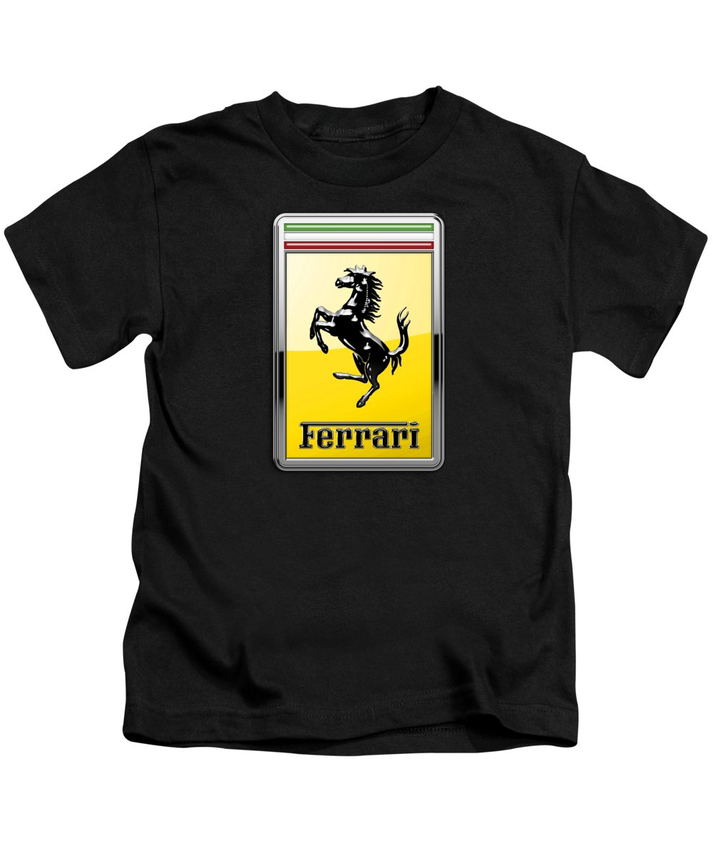 �auto Badges� Collection By Serge Averbukh Kids T-Shirt featuring the photograph Ferrari 3D Badge- Hood Ornament on Black by Serge Averbukh