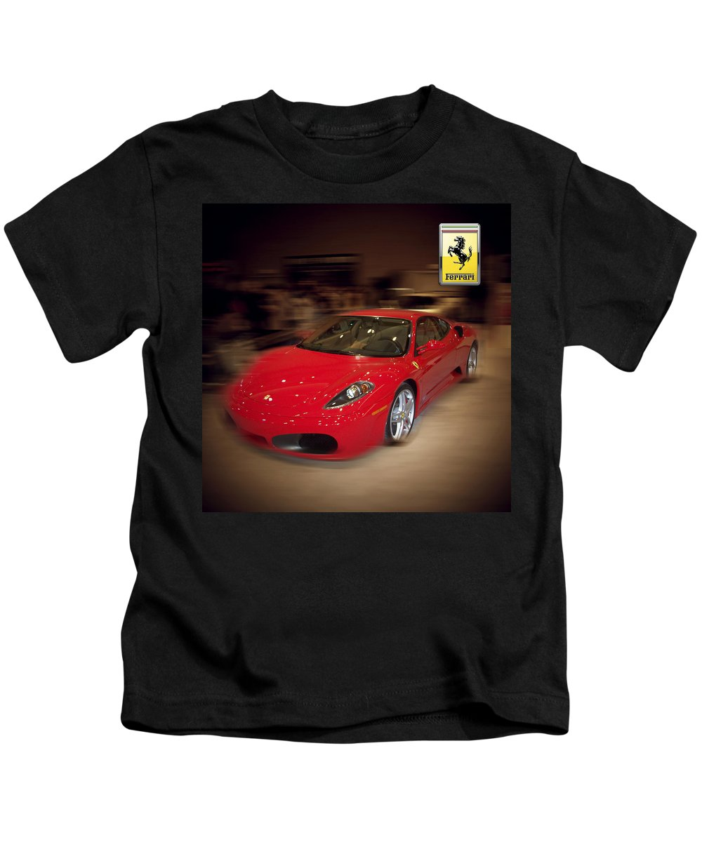 �auto Corner� Collection By Serge Averbukh Kids T-Shirt featuring the photograph Ferrari F430 - The Red Beast by Serge Averbukh