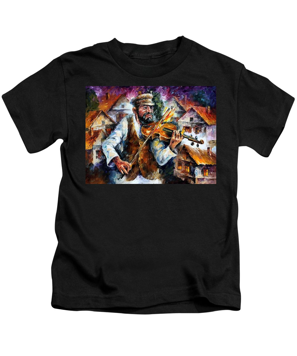 Judiac Kids T-Shirt featuring the painting Fiddler From The Sky by Leonid Afremov
